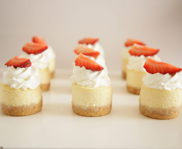 mini baked vanilla cheesecakes