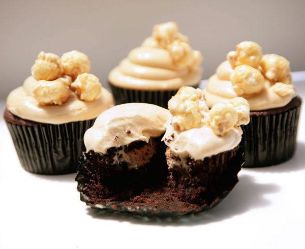 popcorn peanut butter caramel cupcakes