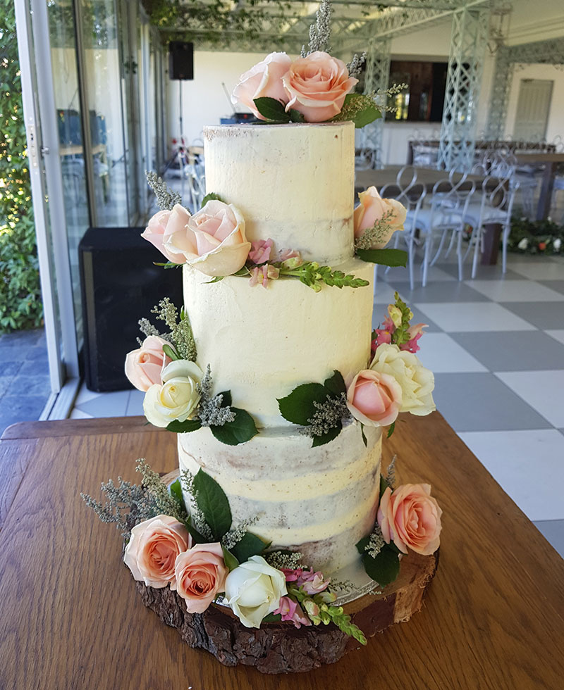 3-tier semi-naked wedding cake