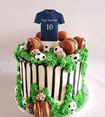 soccer choc drip cake